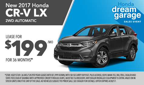 New 2017 Honda CR-V for lease Jacksonville FL